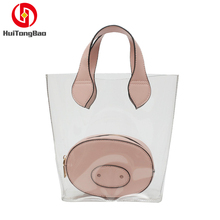 Fashion Women Handle Bag Transparent PVC Composite Pig Wallet Ladys Messenger Bags Shopping