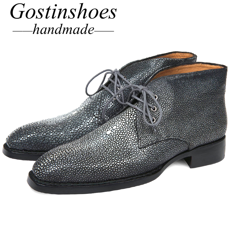 GOSTINSHOES HANDMADE Goodyear Welted Luxury Men Boots Handmade Stingray Skin Upper Fashion Work Safty Ankle Boots Lace-Up SCF19