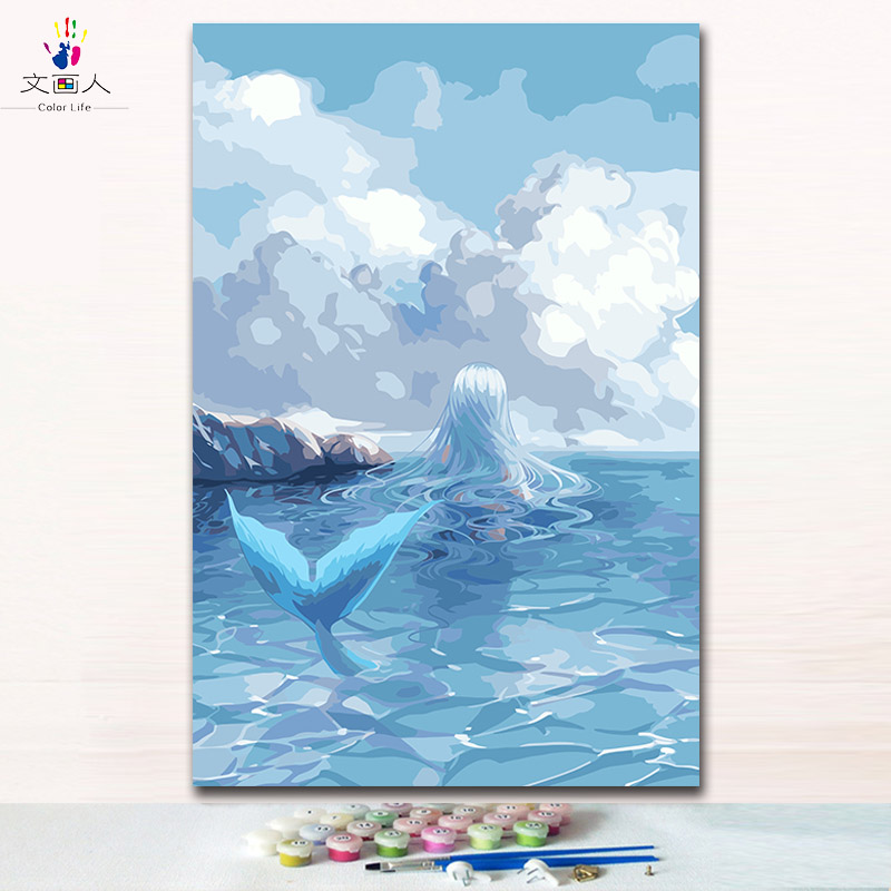 Blue Mermaid oil paintings coloring draw pictures by numbers with kits on canvas Cartoon anime artwork handmade paint by numbers