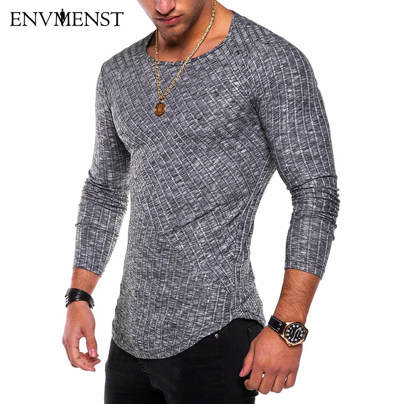 Envmenst O-Neck Slim Fit Sweater Men 2019 Fashion Spring Thin Pullover Men Homme Leisure Solid Color Sweater