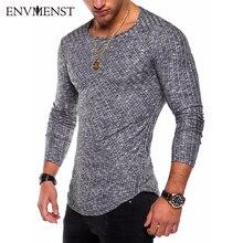 Envmenst o 목 슬림 맞는 스웨터 남자 2019 패션 봄 얇은 풀오버 남자 옴므 레저 솔리드 컬러 스웨터