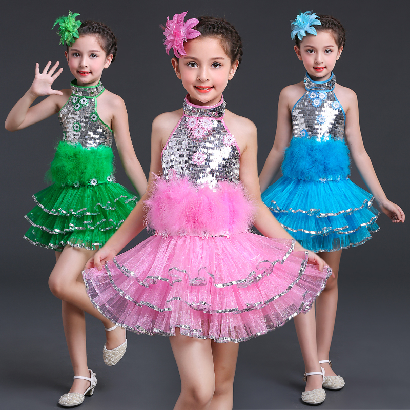 2019Children Girls Latin Dance Dress Special Offer Sequins Latin Dance Dress Costume Sleeveless Latin Salsa Dresses Fringe Dress