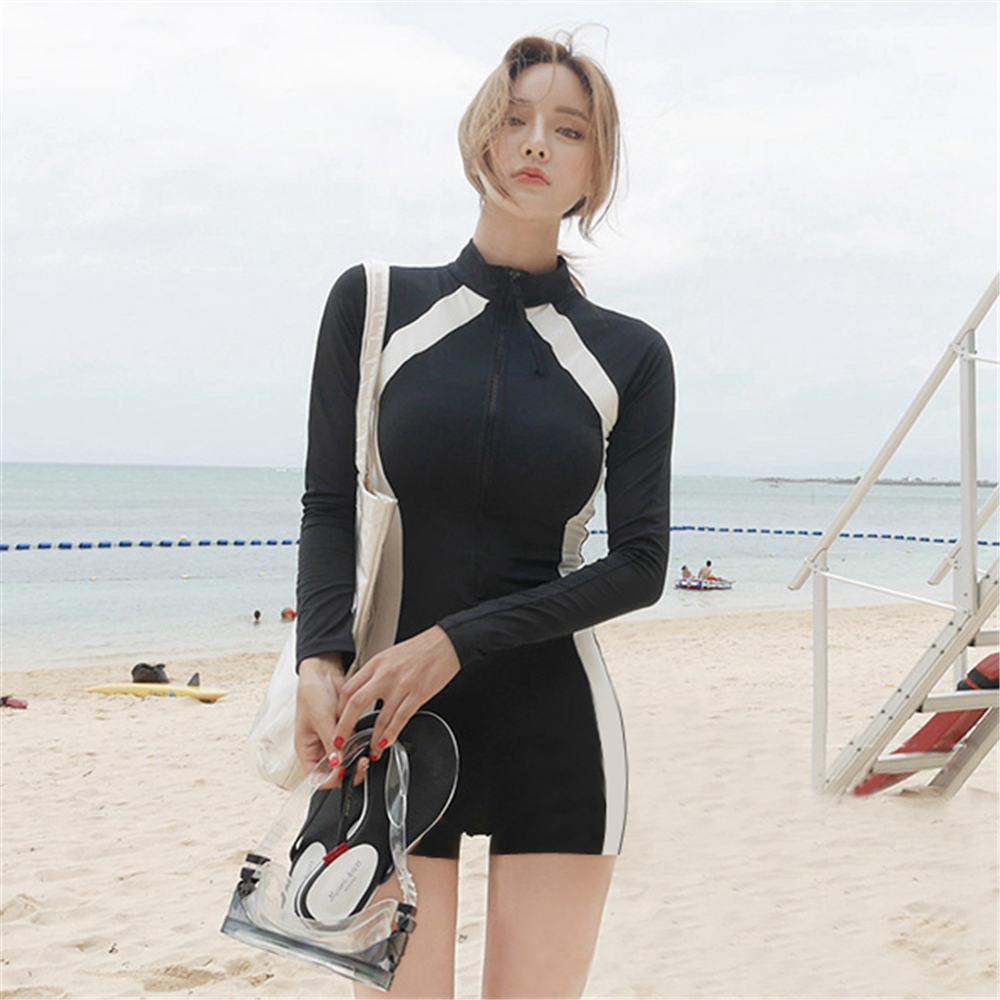 Long Sleeve Rash Guard Women Striped Patchwork One Piece Swimsuit Zipper Swimwear Shorts Surfing ...