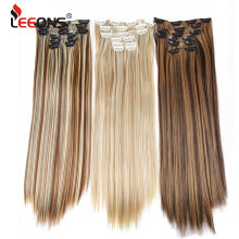 Leeons 16 colors 16 clips Длинные прямые синтетические заколки для волос из высокотемпературного