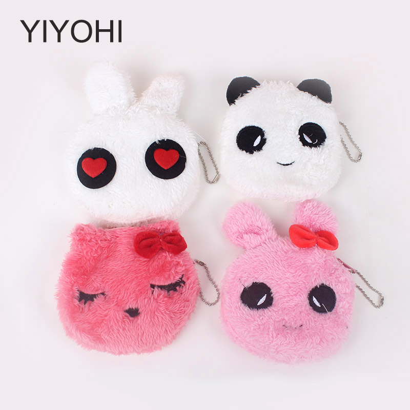 YIYOHI Hot On Sale Kawaii Cartoon Panda Children Plush Coin Bag  Purse Zip Change Purse Wallet Kids Girl Women For Gift