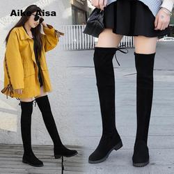 Зимние Сапоги выше колена, Размеры 35-41 пикантные женские сапоги до бедра из эластичной ткани высокие сапоги, Bota Feminina zapatos de mujer, #66