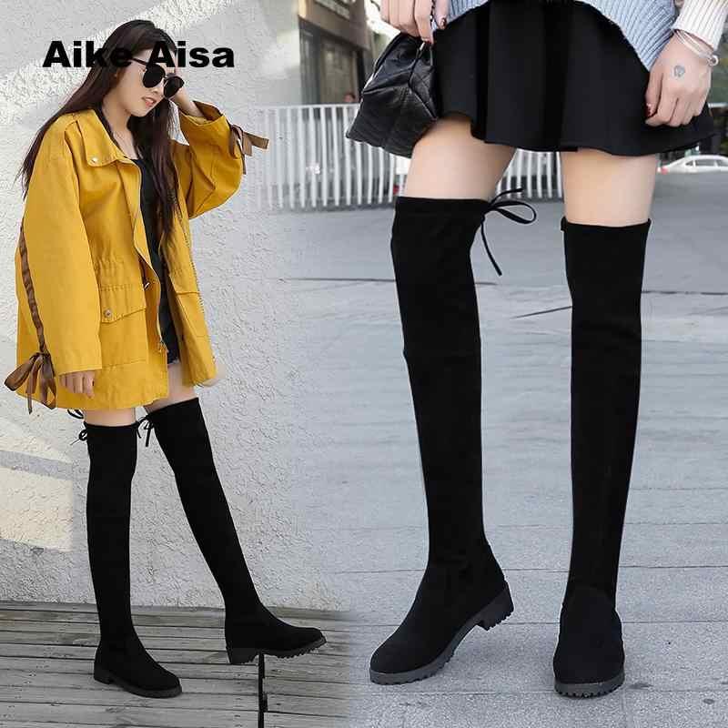Size 35-41 Winter Over De Knie Laarzen Vrouwen Stretch Stof Dij Hoge Sexy Vrouw Schoenen Lange Bota Feminina zapatos De Mujer #66
