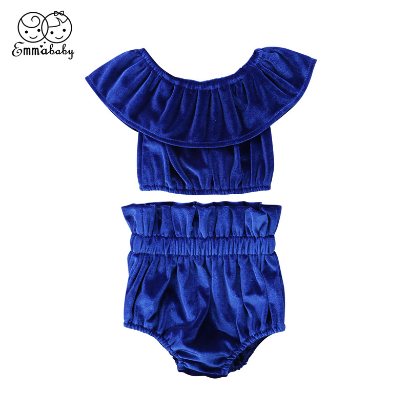 Newborn Baby Girls Clothes Set 2018 Summer Baby Girls Ruffle Sleeve Off Shoulder Crop Tops Shorts 2Pcs Blue/Pink Outfits 0-3T
