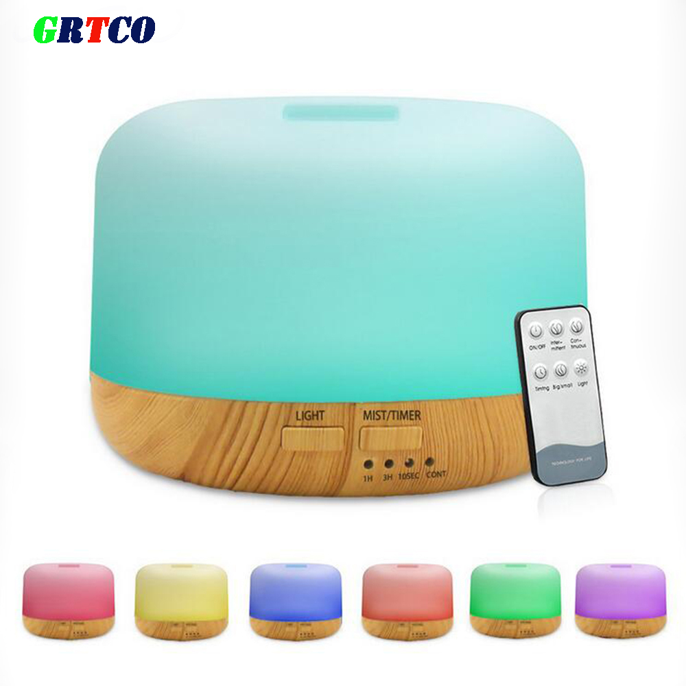 GRTCO Air Humidifier Ultrasonic Aroma Essential Oil Diffuser LED Aroma Diffuser Lamp Aromatherapy Large Capacity Wood Grain