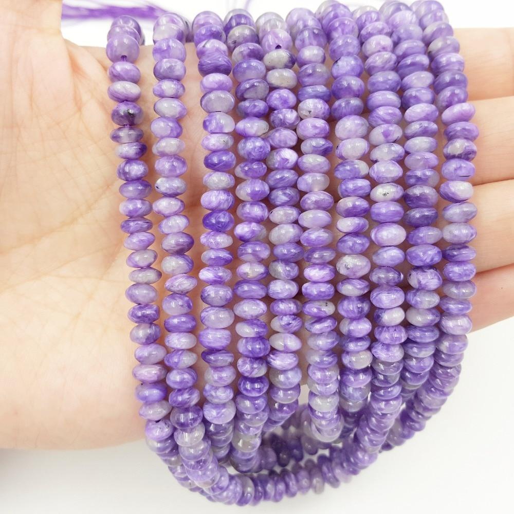 Lii Ji AAA Natural Charoite Flat Round shape bead 4x6mm DIY Jewelry Making Approx 39cm lii ji natural gemstone charoite bracelet approx 12x20x7mm for women fine jewelry