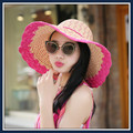 Primavera verano ocio niños del verano grande a lo largo de la cara cubierta de la vacaciones playa sol sombrero para el sol sombrero plegable sombrero de playa