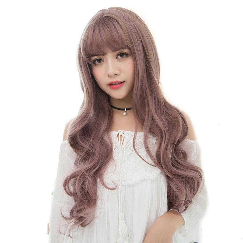Fashion Charming Women Long Curly Hair Hairstyle Synthetic Hair Wigs For Beautiful And Generous Descrip Styling Accessory A17