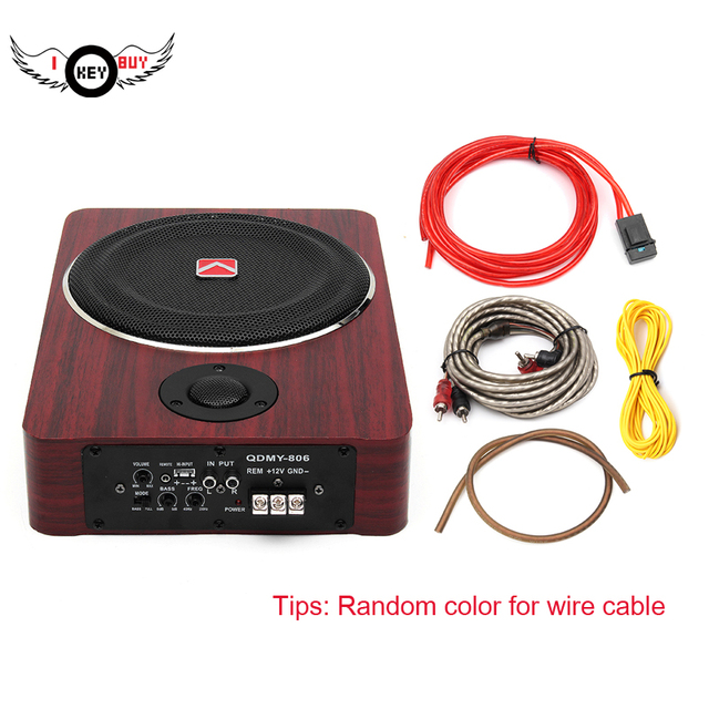 I Key Buy 8 inch 600W Wood Under Seat Car Subwoofers Active Speaker 12V Auto Car Audio Stereo Bass Sub Woofer Amplifier Speakers