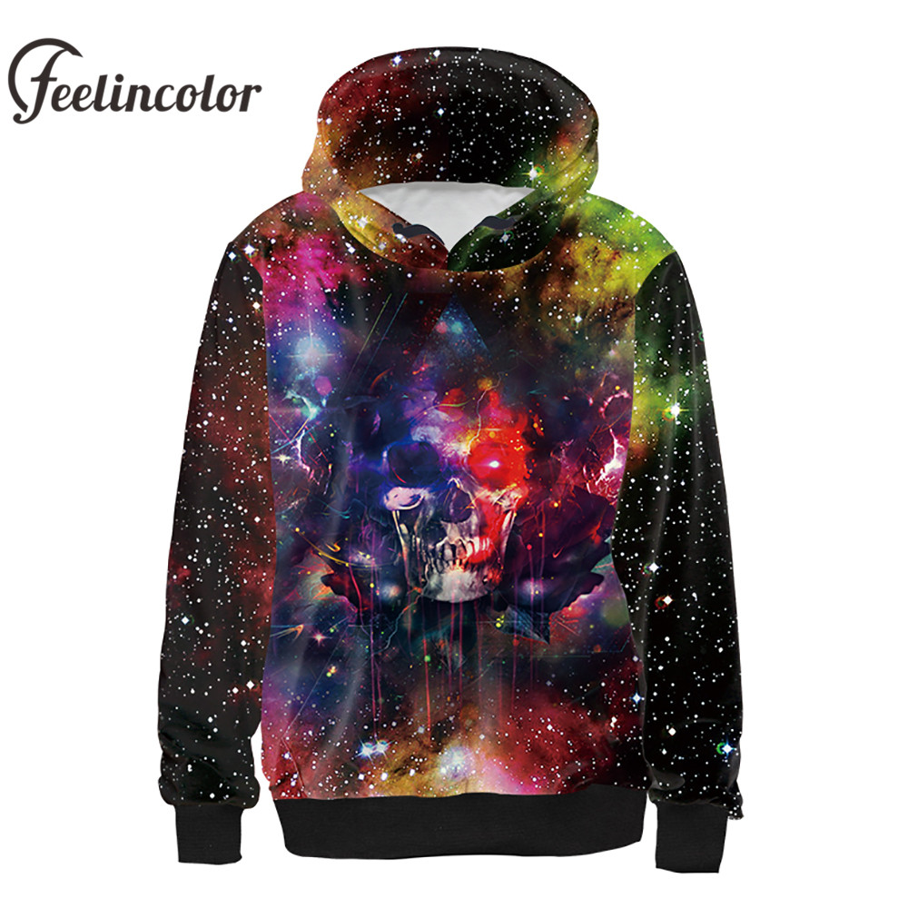 Feelincolor 2018 New Style Sweatshirt 3D Printed Autumn Winter Hoodies Stars Skull Head Fashion Hiphop Streetwear Hooded