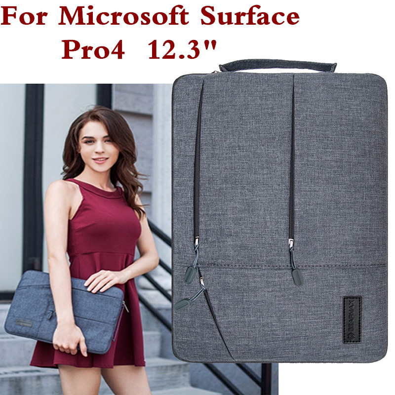 Laptop Sleeve Bag For Microsoft Surface Pro 4 Fashion Tablet PC Case Waterproof Hand Holder Design Pouch Keyboard Cover + Stylus