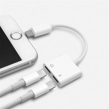 2-в-1 адаптер для iphone 7 8 plus x Музыкальный телефон аудио адаптер Зарядное устройство двойной сплит машина Джек аудио кабель конвертер