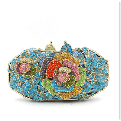 цена Women elegant fashion Rhinestone wedding party clutch evening bag ladies blue /green/black/red shoulder bag flap clutch purse