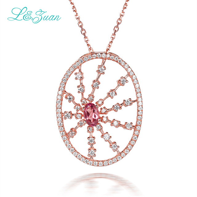l&zuan 925 sterling silver Natural 0.42ct Tourmaline Pendant  Red Stone Jewelry With Silver Chain Christmas Gift Black Friday