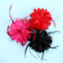 8 kleuren Bloem Feather Bead Corsage Hair Clips Tovenaar Bridal Haarband Party(China)
