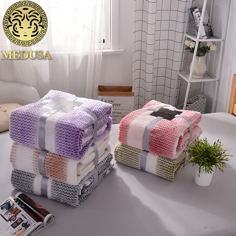 Medusa excelle flannel rainbow solid warm blanket bedspread purple grey gold