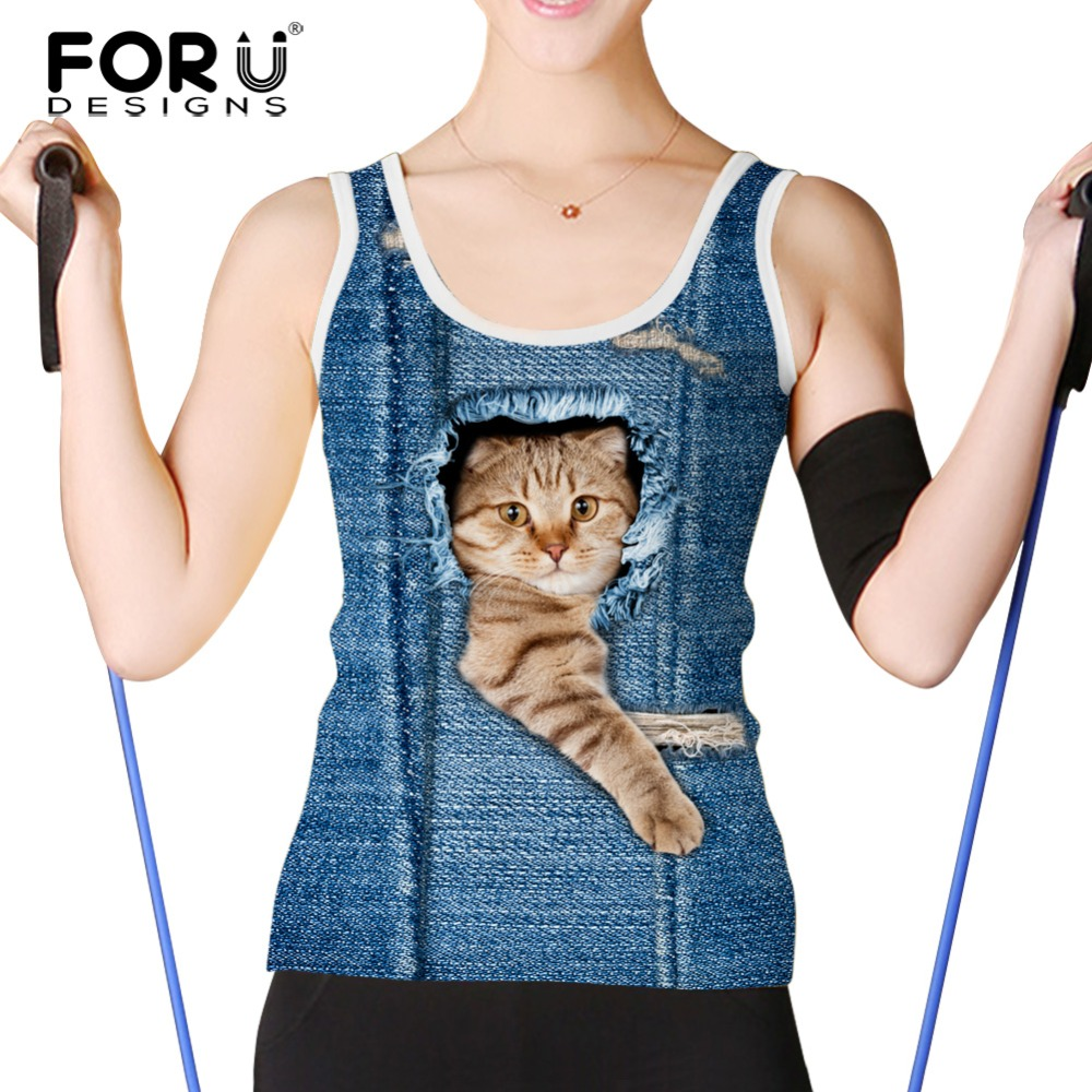 FORUDESIGNS font b Women b font Tank Tops Brand Clothing 3d Jeans Cat Sleeveless Tshirt Female