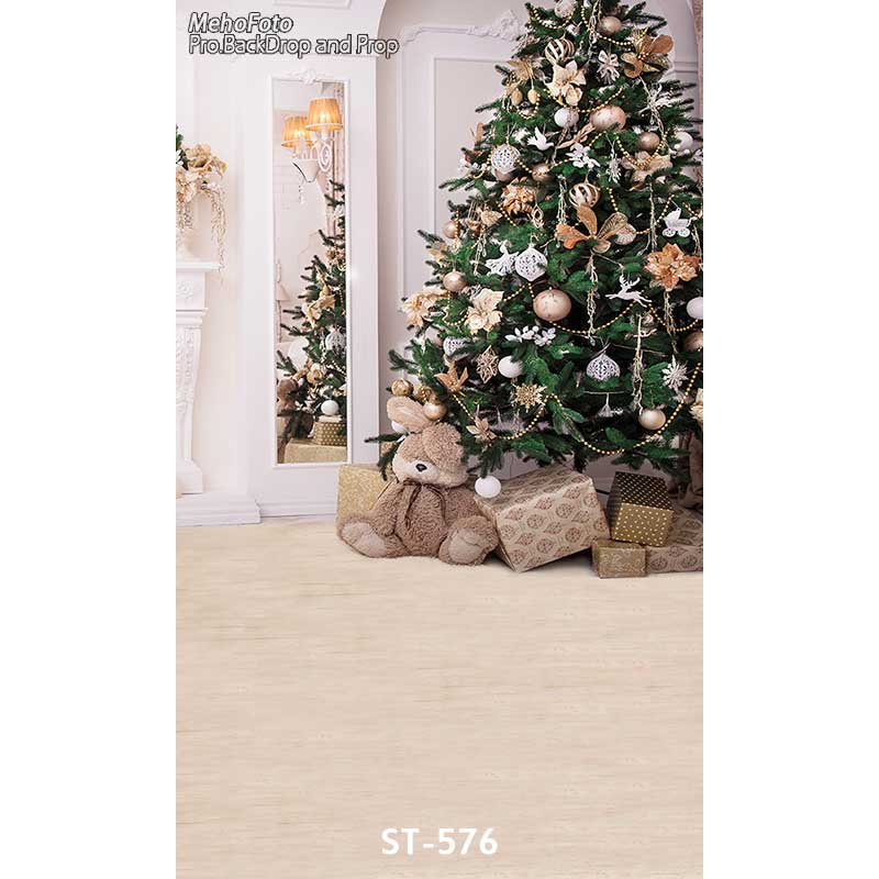 Christmas background vinyl photography backdrops Computer Printed christmas tree and Gift box for Photo studio ST-576 white 3d decorations xmas tree hall fireplace room backdrops vinyl cloth computer printed christmas photo studio background