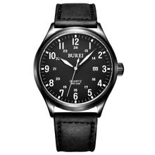 Burei марка мужчины сапфировое стекло кожаный ремешок кварцевые часы водонепроницаемые светящиеся наручные часы с премиями пакет 13016 м