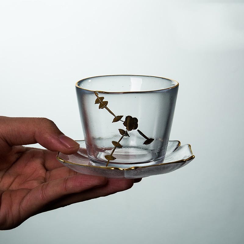 Thé à thé créatif peint à la main résistant à la chaleur avec Mini plateau Kit bureau maître thé cérémonie accessoires Puer thé noir tasses cadeaux