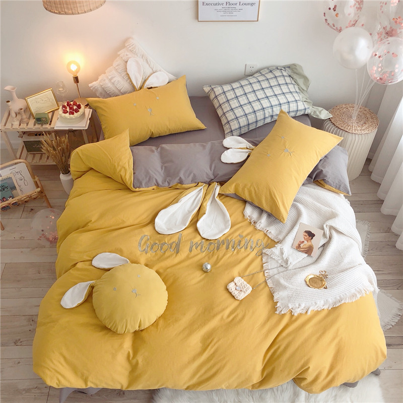 100%Cotton Rabbit Cute Bedding Set Twin Queen King size Comforter Cover Bedding set with Bed sheet Duvet cover Pillow shams