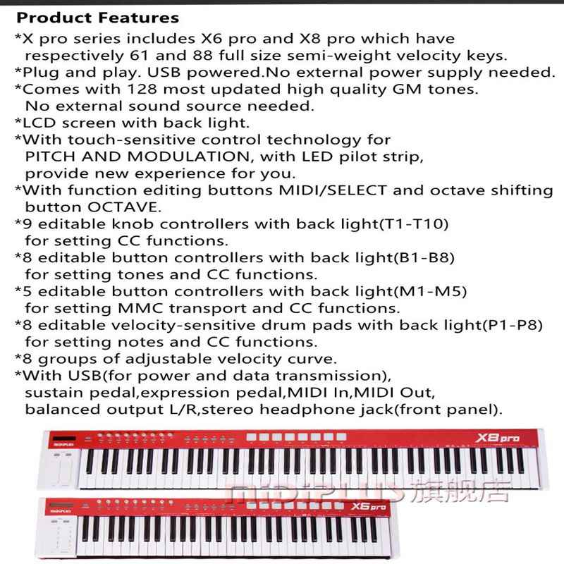 MIDIPLUS X8pro 88 full size semi-weight velocity keys with buitl-in sound  sources USB professional midi keyboard midi controller