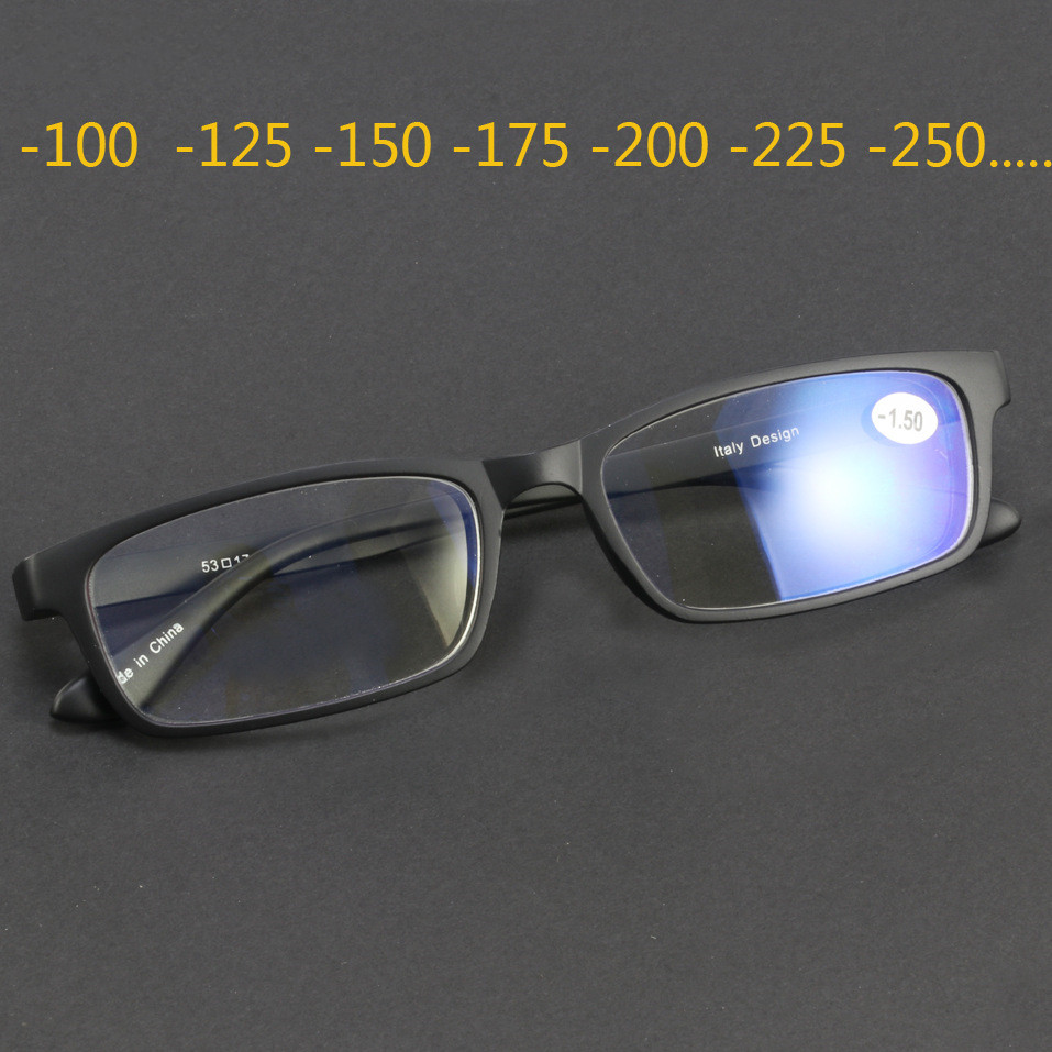 Tungsten Carbon Steel TR90 Glasses Frame For Women Men Finished Myopia Lenses Optical Nearsighted-1.0 -1.25-1.5-1.75 -2.0 ~ -4.2