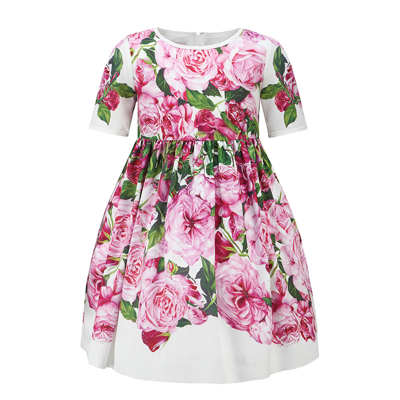Baby Girls Dress Rose Floral Party Birthday Dresses for Half Sleeve Girl Clothing vestido infantil Size 2-7T summer baby dress voile floral wedding dresses for girls toddler infant girl vestido infantil girls costume cute dress clothes