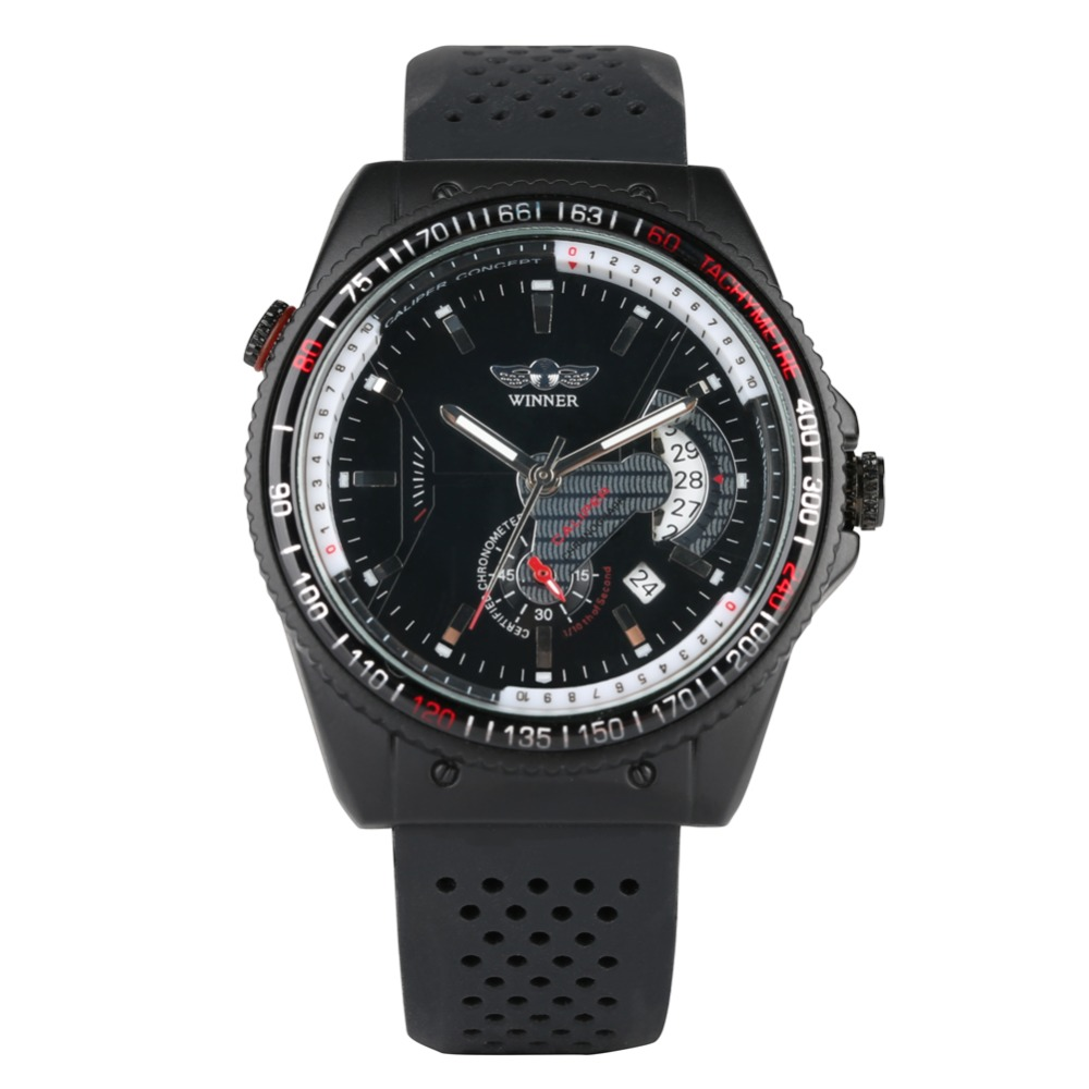 Natural Silicone Mechanical Watch for Men Black Automatic Watches for Man Calendar Function Mechanical Watches for TeenagersNatural Silicone Mechanical Watch for Men Black Automatic Watches for Man Calendar Function Mechanical Watches for Teenagers