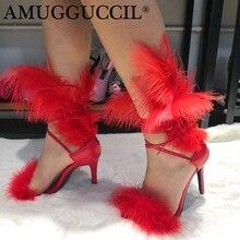 Новинка года; большие размеры 34-47; Цвет черный, красный; модные пикантные вечерние женские босоножки на высоком каблуке со шнуровкой и перьями; L986