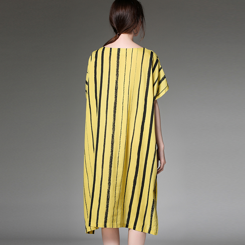 e042da3e3c57 Patchwork Vestido Playa Lino Algodón Verano Casual Yellow Loose Amarillo  Rayas Mujer Gran Vestidos De Plus Bolsillo Señora Tamaño ucT15lK3FJ