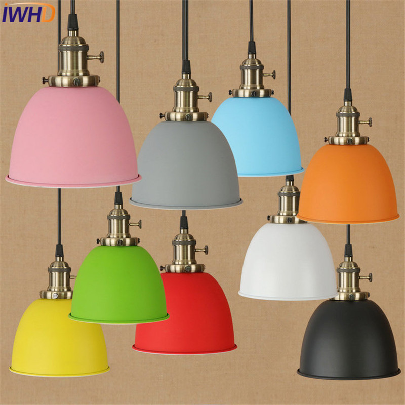 IWHD Loft Style Color Iron Droplight Industrial Vintage Lighting LED Pendant Light Fixtures Dining Room Switch Hanging Lamp iwhd loft style creative 3 head iron glass droplight modern led pendant lamp fixtures dining room hanging light home lighting