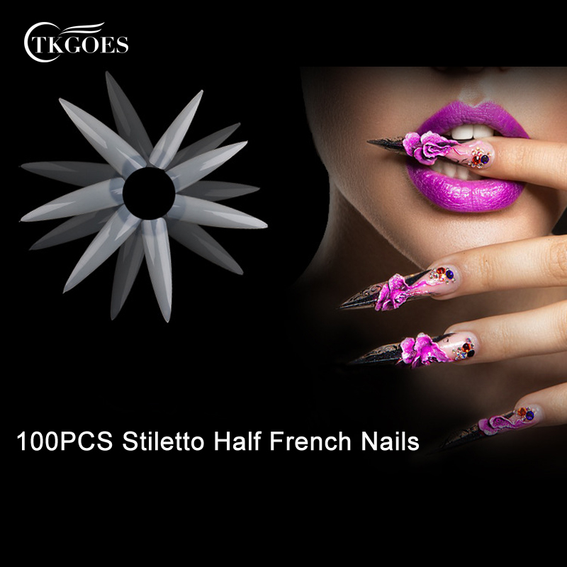 TKGOES 100PCS Natural French Stiletto Nails Acrylic Artificial Nails ...