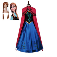 Free shipping adult Halloween Frozen princess Anna long dress cloak Cosplay costume for women animation suit with wig JQ 1373