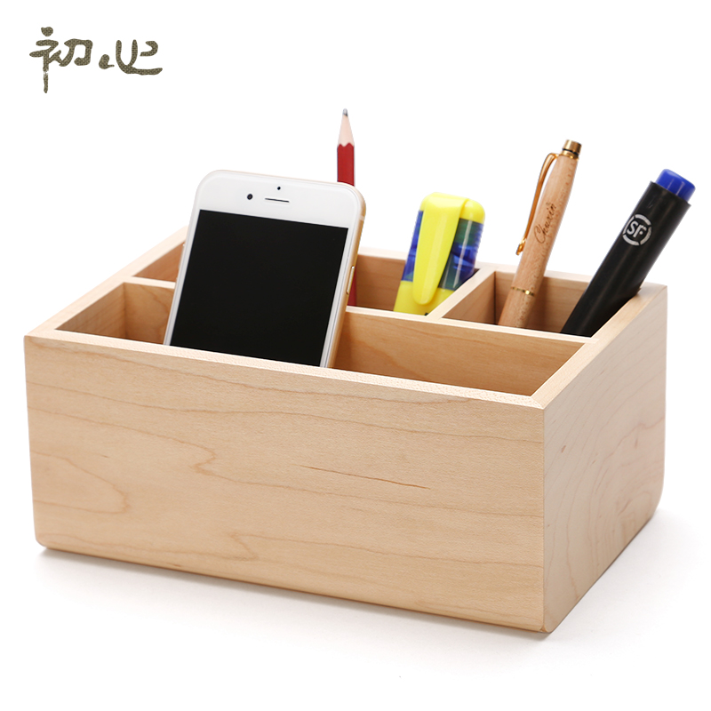 High Quality Home Cosmetics Storage Box Soild Wood Jewelry Makeup Organizer Office 4 Slot Stationery Sundries Container In Bo Bins From