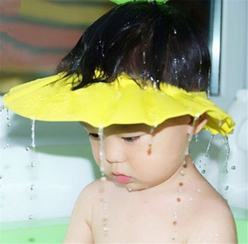 1 pcs Hot sale Adjustable EVA Soft Baby Shampoo Shower Cap Baby Care Bath Protection For 0-6 years blue pink yellow color D2