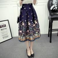 Szmxss 2016 New Design Midi Skirts Vintage Floral Printed Swing Pleated Flared Women Skirt Saia Midi