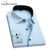 Mannen Dress Shirts 2018 Nieuwe Collectie Man Lange Mouwen Slim Fit Fashion Designer Hoge Kwaliteit Solid Formele Business Shirt 4XL YN258
