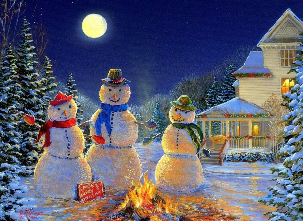 4 led lights free shipping Christmas Wall Art Canvas Print ...