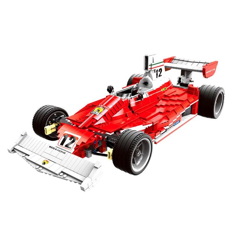 XB03023 2405PCS Red Power Racing Car Set Building Blocks DIY F1 Model Race Car Blocks Educational Toys As Christmas Gifts