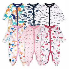 3 pièces bébé filles garçon pieds barboteuses confortable nouveau-né pyjamas vêtements dessin animé imprimé infantile combinaison barboteuse bébé vêtements ensemble(China)