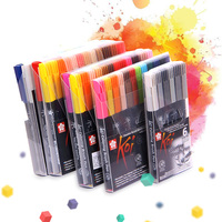Sakura Koi XBR Coloring Brush Marker Pen Flexible Brush Marker Water Based Ink Painting Supplies Art Water Color Pen