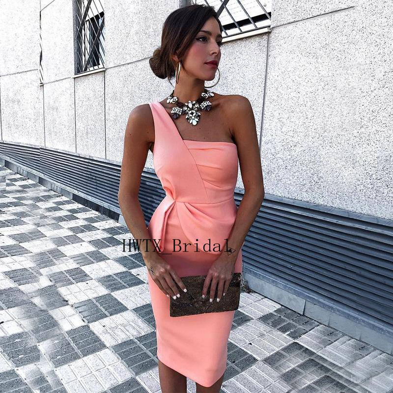 Sexy One Shoulder   Cocktail     Dresses   Cheap Short 2019 Prom   Dress   Mermaid Peplum Knee Length Ever Pretty Girls Formal Party Gown