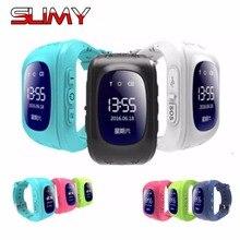 Viscoso Q50 Crianças Relógios Relógio Inteligente com o Cartão Sim GPS Russo Smartwatch Inteligente Relógio para Crianças de Segurança Do Bebê PK Q90 Q528 Q100