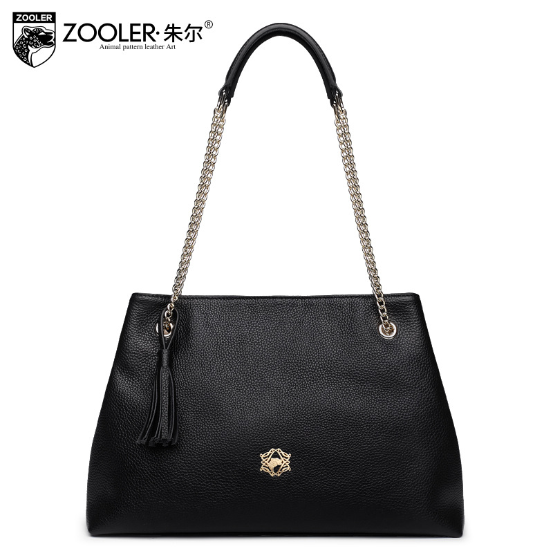 ZOOLER Fashion Genuine Leather Handbag Female Cowhide Tassel Chain Shoulder Bags for Women 2017 Winter Casual Shopping Tote Bag luxy moon women bag genuine leather composite bag women s handbag fashion casual cowhide larger tote female shoulder bag zd705