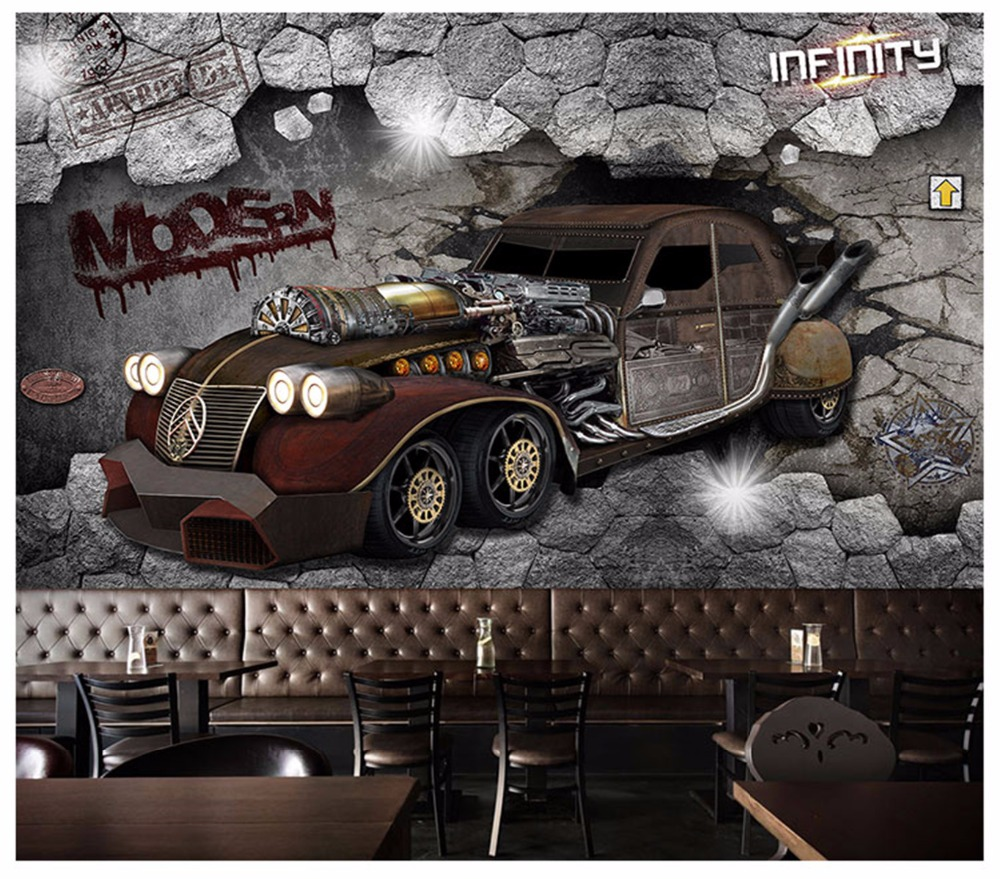 Wallpaper home decoration 3D custom mural 3D personality broken wall car childrens living room wallpaper mural